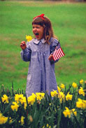 child holding a flag